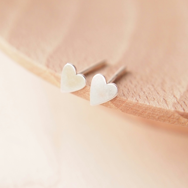 Tiny Heart Stud Earrings, Sterling Silver Heart Earrings