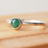 Emerald Sterling Silver Ring, 5mm Stacking Silver Ring. Birthstone Jewellery.