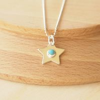 Turquoise Star Pendant in Sterling Silver. Birthstone Necklace