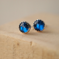 Sapphire and Silver Stud Earrings -