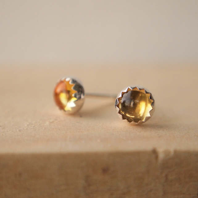 Citrine Silver Stud Earrings