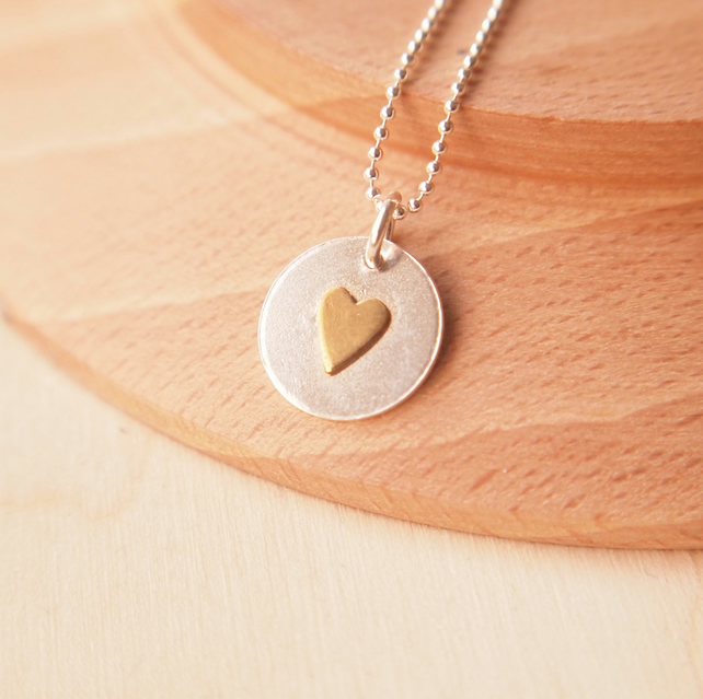 Sterling Silver Valentine Heart Pendant with Golden Coloured Heart