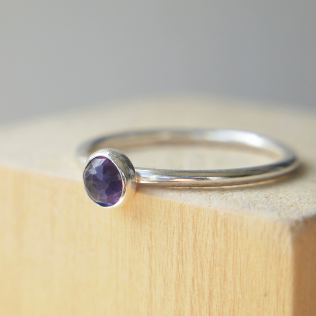 Amethyst Silver Ring, February Birthstone Jewellery, Sterling Silver Purple Ring