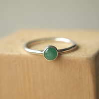 Emerald and Sterling Silver Stacking Ring
