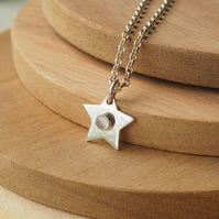 Moonstone and Silver Star Necklace