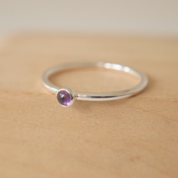 Amethyst Small Gemstone Ring - 3mm cabochon and Sterling Silver