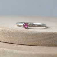 Tourmaline Pink  Silver Ring. October Birthstone Jewellery