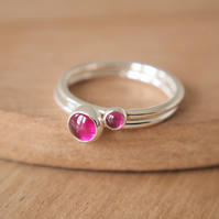 Lab Ruby Double Ring Set