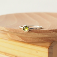 Peridot and Silver Cabochon Ring