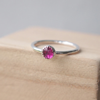 Lab Ruby Silver Gemstone Ring