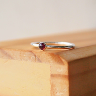 Garnet Silver ring with January Birthstone