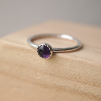 Amethyst Silver Gemstone Ring