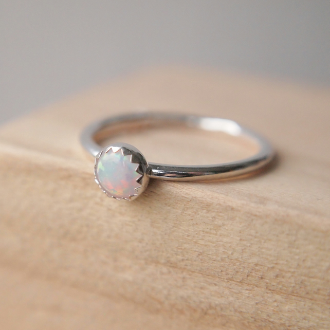 Lab Opal and Silver Gemstone Ring