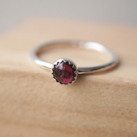 Garnet and Silver Gemstone Ring