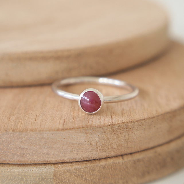 Ruby Ring in Sterling Silver with Round Cabochon, 5mm