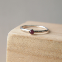 Dainty Ruby Stacking Ring with July Birthstone
