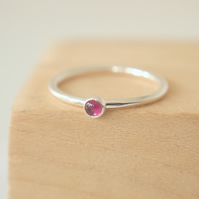 Lab Ruby Stacking Ring with July Birthstone