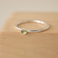 Peridot  and Silver Stacking Ring with Small Cabochon
