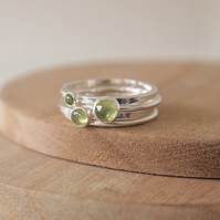 Peridot Stacking Rings Trio