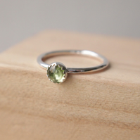 Peridot and Silver Gemstone Ring