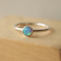 Blue Lab Opal and Silver Gemstone Ring