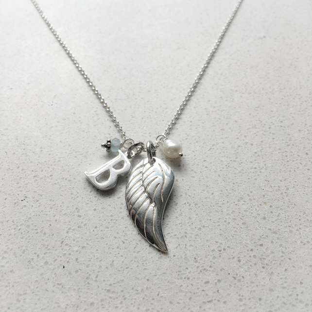 Personalised Angels Wing Birthstone Necklace - March