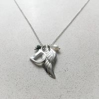 Personalised Angels Wing Birthstone Necklace - May