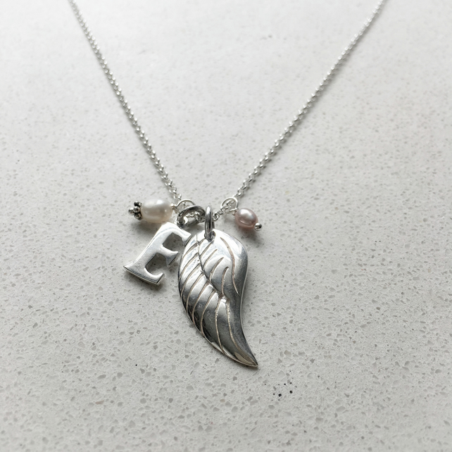 Personalised Angels Wing Birthstone Necklace - June