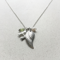 Personalised Angels Wing Birthstone Necklace - August