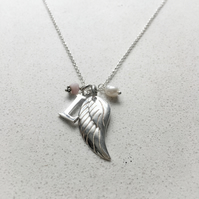 Personalised Angels Wing Birthstone Necklace - October