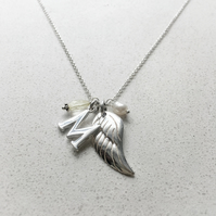 Personalised Angels Wing Birthstone Necklace - November