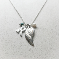 Personalised Angels Wing Birthstone Necklace - December