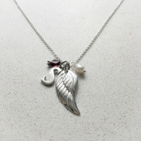 Personalised Angels Wing Birthstone Necklace - January
