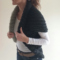 Sculptural crochet wool bomber shrug. Pure Harris aran wool. Rolled neckline.