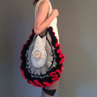 Crocheted contemporary shoulder bag, Scottish Tweed aran and merino. Crochet art