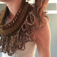 Handcrafted crochet wool collar. Textile jewellery. Peace silk, organic silk.