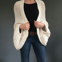 Oversized cardigan, Handspun cotton and banana yarn kimono style cardigan,