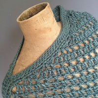 Handspun waste cotton and banana yarn poncho. Ethical fashion. Sustainable.
