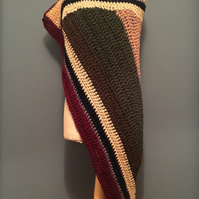 Chunky large crochet wrap. Winter wrap, pure Scottish wool. Thigh warmer.