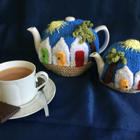 Beach hut tea cosy, 2 sizes KNITTING PATTERN