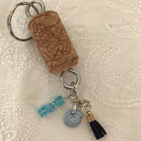 Cork and tassel charm keyring