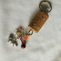 Cork and fox charm keyring