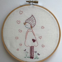 Embroidery hoop art. Hand embroidered, girl, flowers