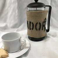 Recycled  coffee bean sack into cafetiere cosy.