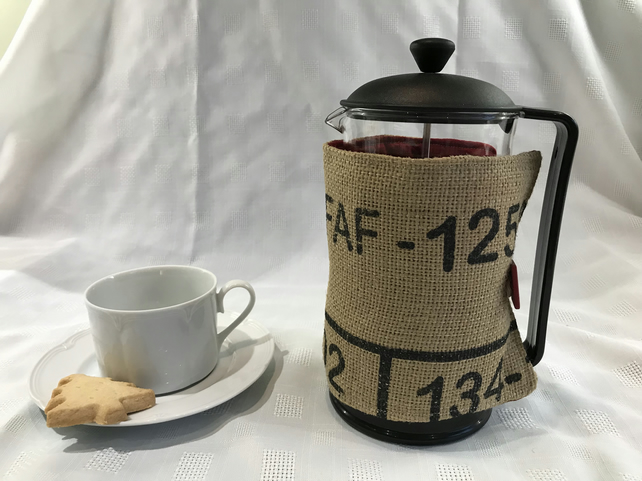 Repurposed coffee bean sack into French press cosy