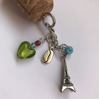 Cork and Eiffel tower keyring, coffee bean, heart