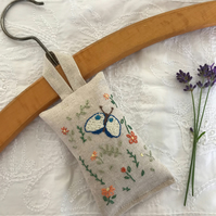 Hand embroidered lavender sachet