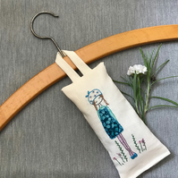 Hand embroidered hanging lavender sachet