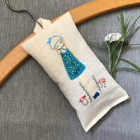 Lavender sachet, hand embroidered.