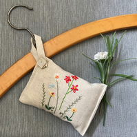 Flower embroidered hanging  lavender sachet
